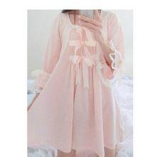 Lente En Zomer Katoen Nightgowns & Sleepshirts Met Kersenbloesem Roze Strikken/Kant/Voor Dames In Lolita/paleis/Japanse Stijl(China)