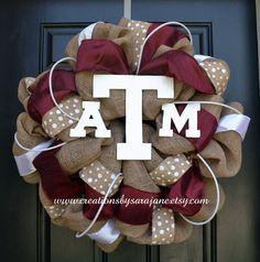 Texas A&M Burlap Wreath Burlap Aggie by CreationsbySaraJane, $95.00