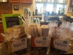Coffee Bar for starbucks party 13th Birthday Parties, 14th Birthday, Teen Birthday, Birthday Party Decorations, Party Themes, Birthday Ideas, Party Ideas, Starbucks Birthday Party, Sleepover