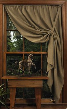 I like the gather to the corner as opposed to the side. Short Window Curtains, Curtains And Draperies, Fabric Blinds, Diy Curtains, Short Curtains Bedroom, Picture Window Curtains, Blackout Curtains, Primitive Curtains, Home Decor