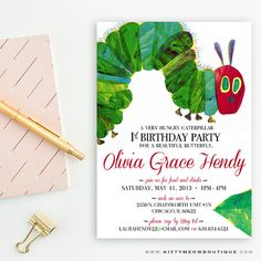 Very hungry caterpillar invite first birthday invitation birthday very hungry caterpillar invite first birthday invitation birthday party printable printed caterpillar party first birthday kids party pinterest filmwisefo Choice Image