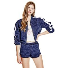 GUESS Serena Denim Bomber Jacket ($128) ❤ liked on Polyvore featuring outerwear, jackets, zip bomber jacket, long sleeve jacket, zip jacket, flight jacket and blue denim jacket