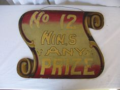 Vintage Wooden Painted Carnival Game Sign