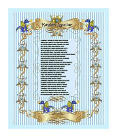 PERSONALIZED PRINCE Print Poem - Blue Royal - Boys room/Baby nursery-dragons & swords Prince 8X10 digital download ready to Frame!