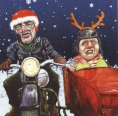 Xmas greeting card - Side Car Santa by Steve Taylor. a unique and unusual Christmas and New Year Greeting Card of a Couple driving in the snow.