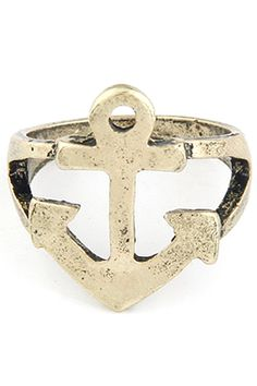 Hollow Out Boat Anchor Shape Ring #CLICK! #clothing, #shoes, #jewelry, #women, #men, #hats