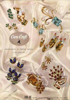 Coro-Craft rhinestone costume jewelry vintage ad