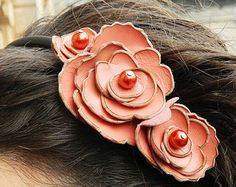 Coral color leather flower in shape of roses headband on black hairband. Coral handmade headband. Handmade hair accessories. Coral.