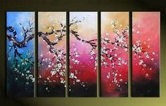 100% Hand Painted Artwork Flower Painting 5 Piece Wall Art Large Oil Painting Modern Art Canvas Art Gallery Wrapped Stretched and Ready to Hang by Paintingworld, http://www.amazon.com/dp/B00B9Q50S6/ref=cm_sw_r_pi_dp_5hcYrb1H5X839