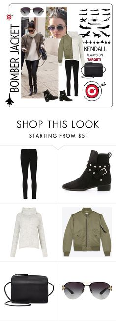 """""""Kendall Jenner - Always On Target! - BOMBER JACKETS"""" by lovesparisstudio ❤ liked on Polyvore featuring Frame Denim, See by Chloé, Miss Selfridge, Yves Saint Laurent, Building Block, Versace, kendalljenner and bomberjackets"""