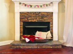 Rustic Traditional Christmas  Fireplace Decor with doughbowl