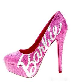 #pink barbie platform heeled #shoes got to love a pink sparkly #shoes :)