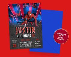 Spiderman Birthday Invitations, Superhero Invitations, Printable Invitations, Birthday Party Invitations, Pig Birthday, Birthday Parties, Invitation Design, Invite, Spiderman Theme