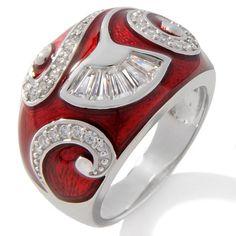 """Victoria Wieck .5ct Absolute™ Red Enamel """"Fan"""" Ring"""
