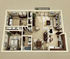 Inspiring Two Bedroom Apartment Plans Ideas Small House Plans, House Floor Plans, Home Design Plans, Home Interior Design, The Plan, How To Plan, Looking For Houses, Latest House Designs, Apartment Plans