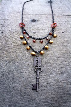 The Keeper Necklace Key Keyhole Pendant Pearl by SweetSageJewelry, $30.00