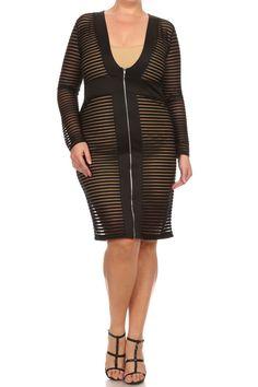 44e1f16d2d248 Plus Size Stripe See Through Zip Up Dress – PLUSSIZEFIX