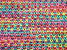 The knit Linen Stitch makes a dense fabric and has a way of making variegated yarn a little less blah.