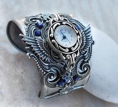Steampunk Watch -Silver + Blue by Aranwen on DeviantArt Karkötő Óra a1dcf84e73