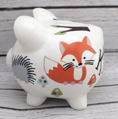 Forest Friends Simple Personalized Piggy Bank with Deer, Owl, Fox and Hedgehog Hand Painted Ceramics, Porcelain Ceramics, Baby Shower Gifts, Baby Gifts, The Little Couple, Personalized Piggy Bank, Piggy Banks, Forest Friends, Pottery Painting