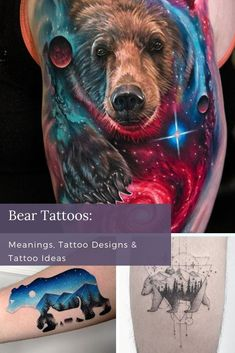 There are so many reasons to love a bear tattoo. You can get one in any style. They suit elaborate portraiture, simple old school tattoo designs, and everything between. A bear can symbolize your love of nature, your quest for knowledge, your protective streak, or your love of star-gazing. Girl Leg Tattoos, Bear Tattoos, Cool Forearm Tattoos, Animal Tattoos, Unique Tattoos For Women, Cool Tattoos For Guys, Cool Small Tattoos, Old School Tattoo Designs, Best Tattoo Designs