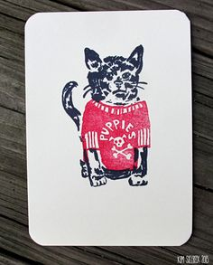 Puppies Cat stamped art card by kimsielbeck on Etsy