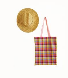 Colorful tote bag  cotton shopping bag  checked bag by lafourmiele