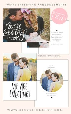 FREEBIE - We're expecting announcements | Photoshop templates for photographers by Birdesign