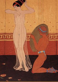 Nude Greeting Card featuring the painting Illustration From Les Chansons De Bilitis by Georges Barbier