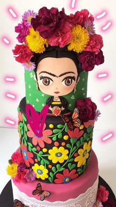 43 Trendy Birthday Cake For Him Ideas Galleries Gorgeous Cakes, Pretty Cakes, Cute Cakes, Amazing Cakes, Mexican Birthday Parties, Mexican Party, Mexican Themed Cakes, Frida Kahlo Party Decoration, Fondant Cakes