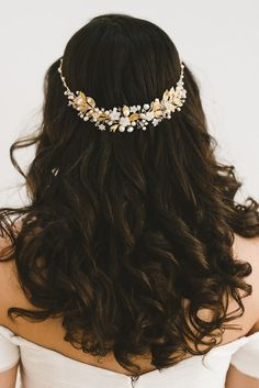 Dramatic gold flower headpiece CONSTANCE by NoonOnTheMoon