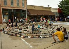 A labyrinth made of shoes! I don't know where this is, but the kids seem to be having fun.