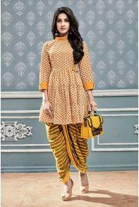 268fa32199 Wholesale Stylish Casual Wear Printed Cotton Short Kurti With Dhoti   Kurti  Supplier