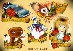 philwallart: A bunch of the Movie related tattoo themed flash sheets I've done to-date. If you like my stuff please 'follow, like, re-blog'...