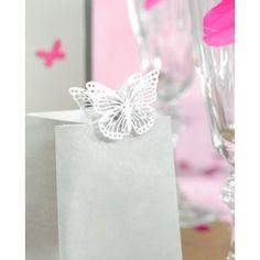 Double papillon blanc en métal ciselé sur pince 3.5 cm les 4 doubles papillons, idée, déo, papillon, mariage, anniversaire, marque place forme papillon, baptême, art de table, table festive