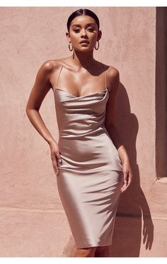Clothing : Bodycon Dresses : 'Alette' Champagne Satin Cowl Back Dress Clothing: Bodycon Dresses: & & # s; Champagne Satin Cowl Back Dress Satin Dresses, Tight Dresses, Elegant Dresses, Pretty Dresses, Women's Dresses, Beautiful Dresses, Dress Outfits, Gowns, Silk Dress