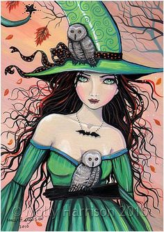 Art 'The Witch and The Owls' - by Molly Harrison from Gallery Halloween Images, Halloween Art, Vintage Halloween, Witch Spell, Pagan Witch, Witches, Wicca, Monster Party, Witch Pictures