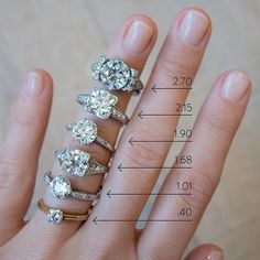 A reference for old European cut diamond sizes ranging down in size from 2.70 carat at the top to .40 carat at the bottom. Notice that more elaborate settings accentuate the diamond and make it look more pronounced. Shop these vintage engagement rings on erstwhilejewelry.com or make an appointment to see them in person at our NYC showroom.