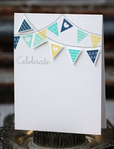 Celebrate - handmade card, blue, aqua, and yellow banner via Etsy Boy Card Scrapbooking, Scrapbook Cards, Cool Cards, Diy Cards, Beautiful Handmade Cards, Card Making Inspiration, Card Tags, Creative Cards, Homemade Cards