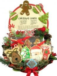 Christmas Cookie Shoppe Family Christmas Gift Platter - a hand painted ceramic Christmas platter overflowing with delicious cookies!  Enjoy decorated sugar cookies, S'Mores Cookies, and lots more.  Add Gingerbread scented candles and festive berries, pine and bows, and this is an amazing Christmas gift for a special family!