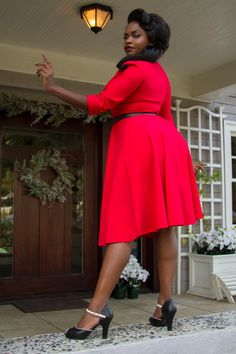 Twist and Shout Holiday Swing Dress with Three-Quarter Sleeve in Red - New Arrivals - New | Pinup Girl Clothing