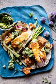 Roasted Cauliflower Fried Halloumi Tacos with Spicy Avocado Basil Salsa.