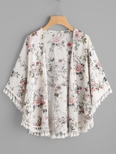 SheIn offers Fringe Trim Curved Hem Botanical Kimono & more to fit your fashionable needs. Kimono Fashion, Boho Fashion, Girl Fashion, Kawaii Fashion, Girls Fashion Clothes, Fashion Dresses, Clothes For Women, Blouse Styles, Blouse Designs