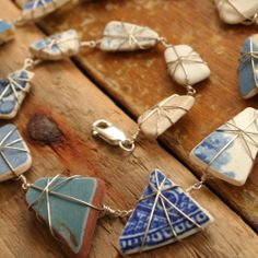 Sea pottery 15 shard wire wrapped necklace