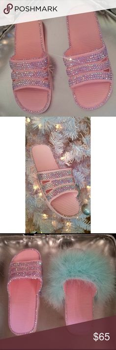 Pink Bling Slides Handmade by me! Size 8 (-: AuthorityGirl Shoes Sandals