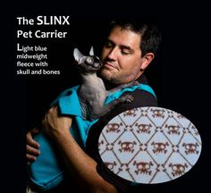 The SLINX a sling for your Sphynx Cat   Cat Carrier, Pet Carrier, Fashion Statement in Light Blue Fleece with Skulls on Etsy, $49.00 ? why? Is your cat lazy?