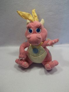 "PBS Dragon Tales Cassie pink dragon 10"" plush toy I had this and loved it"
