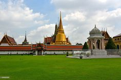 wat phra kaeo at bangkok thailand asia. Royal palace. green grass with buddhist temple on getty image photography.