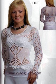 Белая блузка спицами. Вязаная блузка с ажурным узором | Я Хозяйка