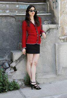 Red Spring Jacket, Handmade: Jackie, Summer Collection - made to measure. A v neckline to break up the bust area and a fitted shape to emphasis and create more shape at the waist. Such an easy wear piece to spice up any outfit! Inverted Triangle, Spring Jackets, Easy Wear, Summer Collection, Spice Things Up, Classic, Skirts, Handmade, How To Wear